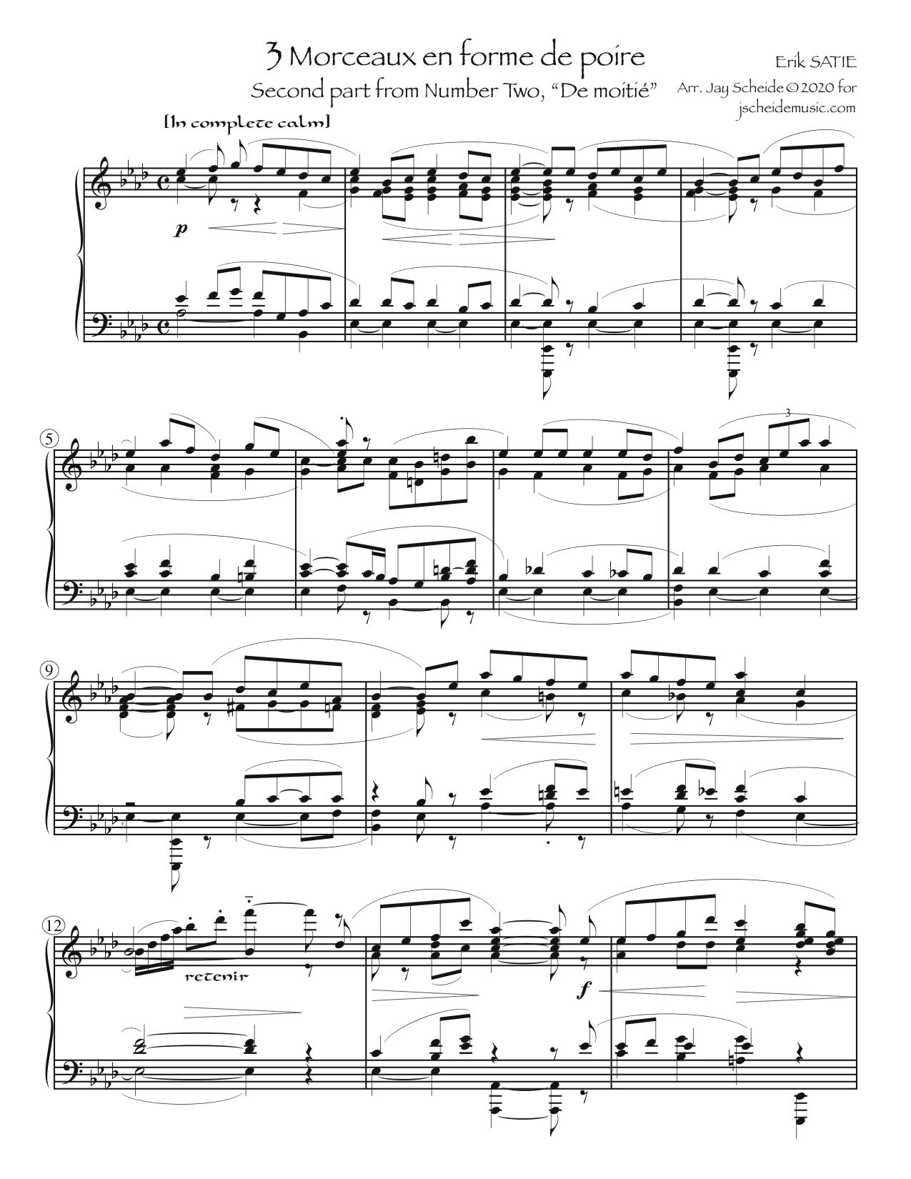 """Excerpt from """"No. 2"""" of *Trois morceaux en forme de poire*"""