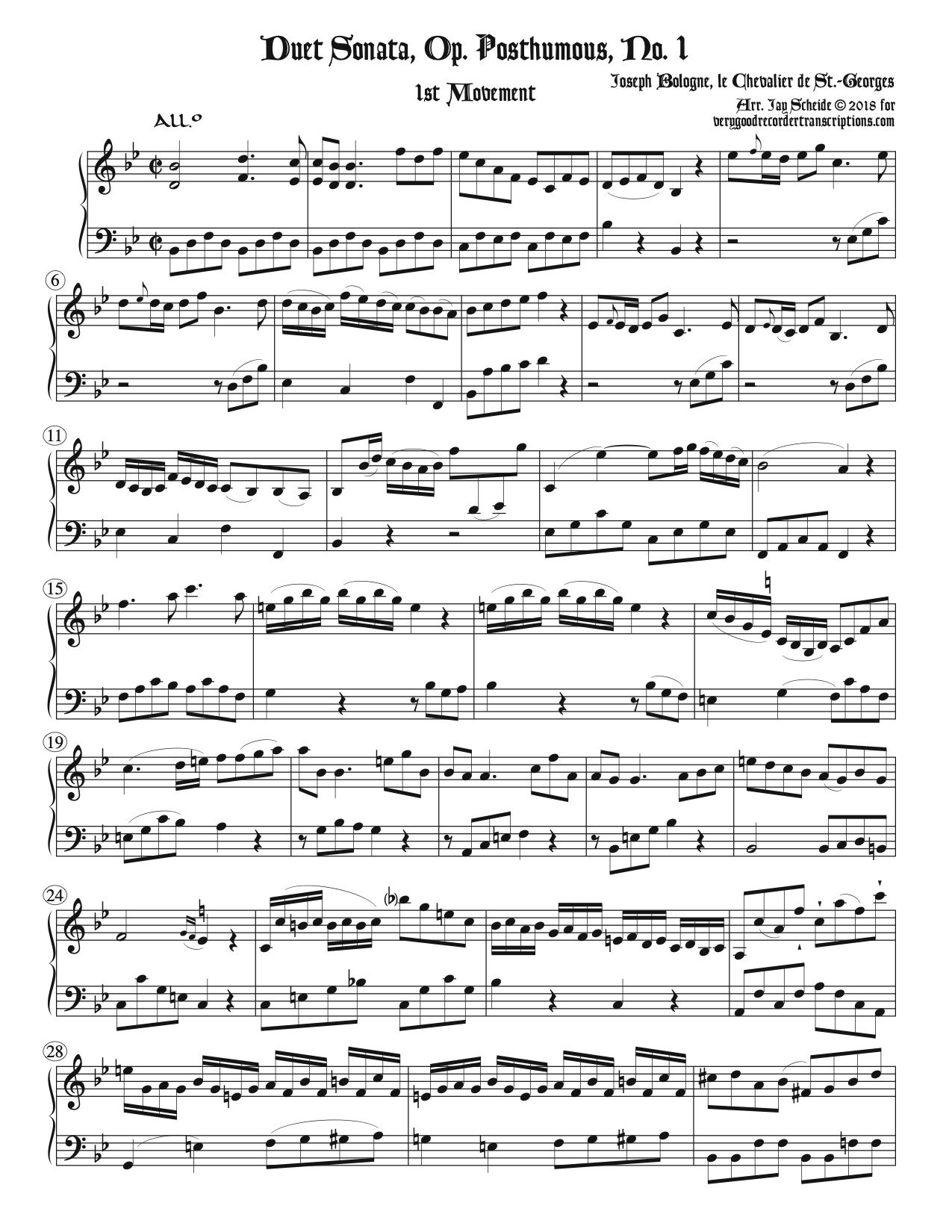 1st Mvt. from Sonata No. 1, Op. Posthumous, two versions