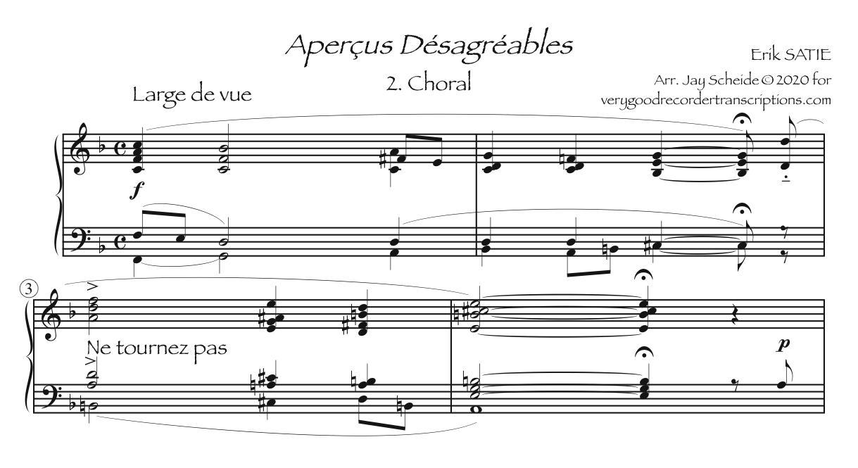 Chorale from *Aperçus Désagréables*
