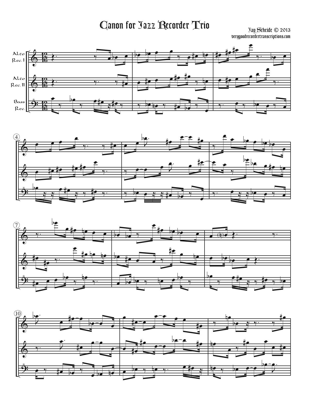 Jazz Canon for Recorder Trio