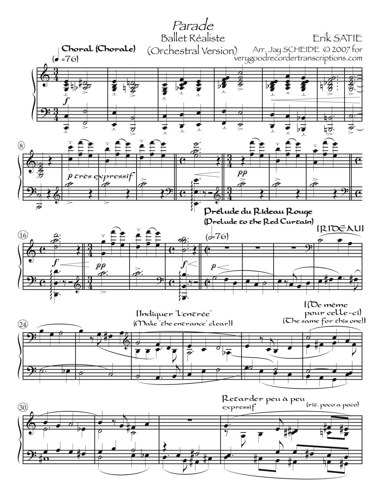 *Parade*, Ballet réaliste (Orchestral version)